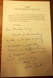 A handwritten note from John Barton, then editor at Arc Poetry Magazine