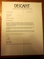 My first acceptance letter from a quality literary journal, Descant, in 2000