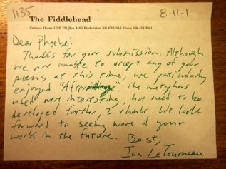 A kind note from editor Ian LeTourneau in 2001.